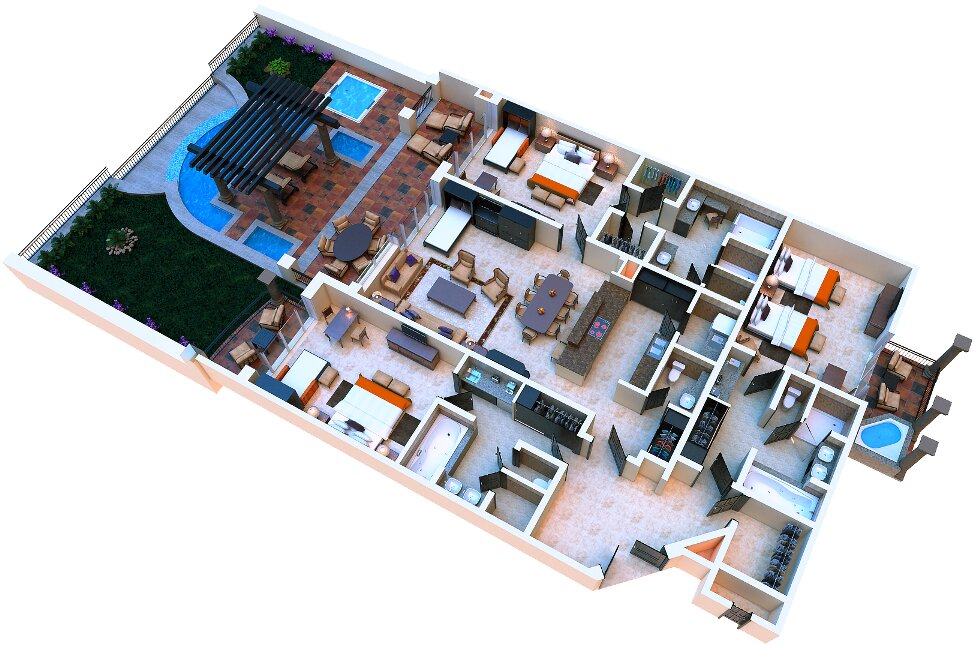 Three Bedroom Master Suite Private Pool, Up to 10 people
